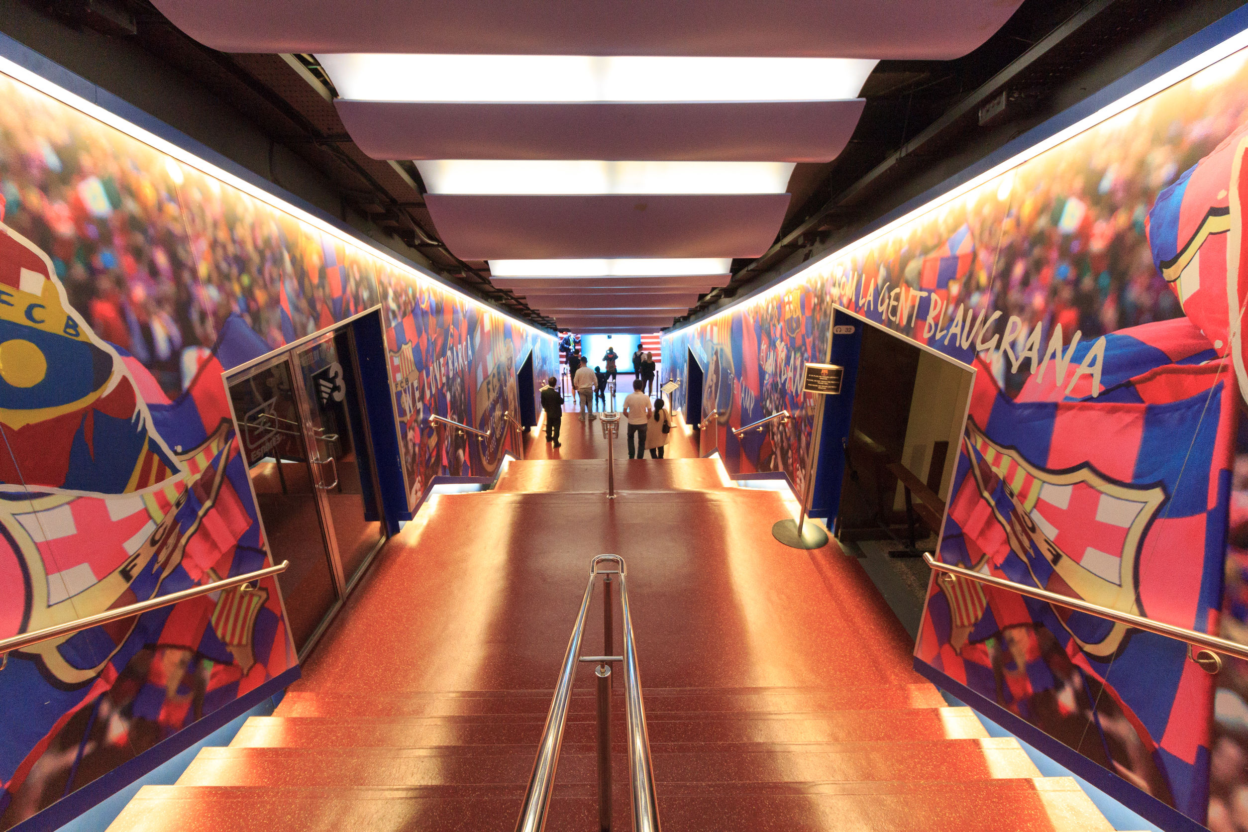 55407127 - football stadium camp nou players tunnel in barcelona